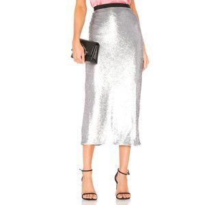 Cinq a Sept Metallic Silver Sequin Paula Skirt -XS